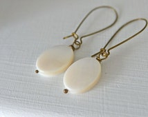 Oval Ivory Mother of Pearl Long Dangle Earrings perfect for Mothers Day . Handmade in Maine