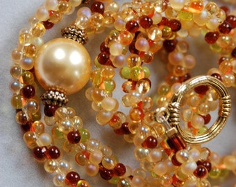 Golden Glass Pearl Bead Necklace and Bracelet Set with Maroon, Rust, Brown and Gold Accents