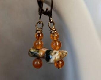 Citrine and Ocean Jasper Earrings - Handmade in Maine