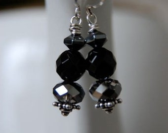 "Black Onyx Hematite Silver Earrings ""Midnight Delight"""
