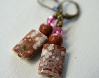 Ocean Jasper Earrings - Sienna Brown and Pink Natural Stone Dangle Earrings