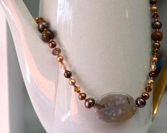 Large Ocean Jasper Necklace Pearl Necklace Orange Necklace Brown Tan Gold
