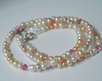 "Pale Pink Pearl Necklace and Bracelet SET with White, Rose, Carnation, Mauve and Peach Freshwater Pearls  ""Rosewater"""