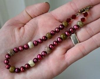 Black Cherry Pearl Bracelet with Ocean Jasper . Size Large Long Bracelet Handmade in Maine