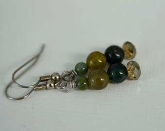 Fancy Jasper Earrings Green Earrings Forest Earrings