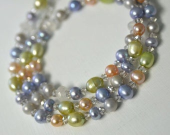 Moonstone Necklace Pastel Pearl Necklace Crystal Necklace Long Necklace Ready to Ship Black Friday Etsy Cyber Monday Etsy