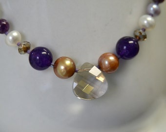 Amethyst Necklace Crystal Necklace Purple Brown Ivory