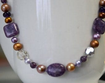 Purple Gemstone Necklace with Lepidolite Amethyst and Brown Gold Pearls - Natural Stone and Freshwater Pearls