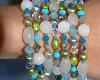 Natural Snow Quartz Long Necklace with Turquoise Crystals & Lime Green, Blue, Apple Green and Moss Freshwater Pearls . Handmade in Maine