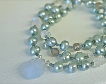 Natural Chalcedony Necklace with Rainbow Moonstones and Pearls . Handmade in Maine