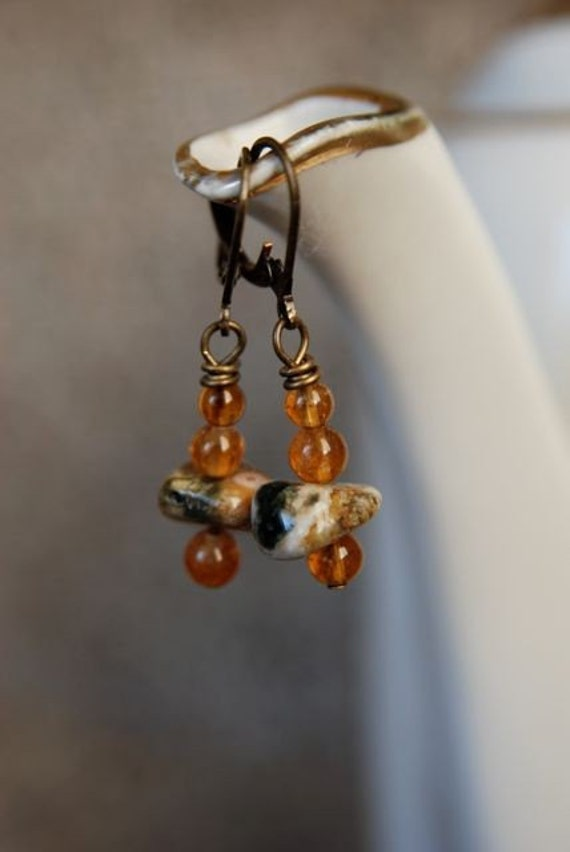 Citrine and Ocean Jasper Earrings - Handmade in Maine