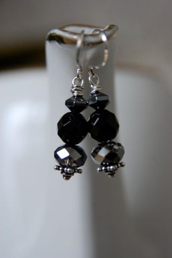 "Black Onyx Hematite Silver Earrings ""Midnight Delight"""