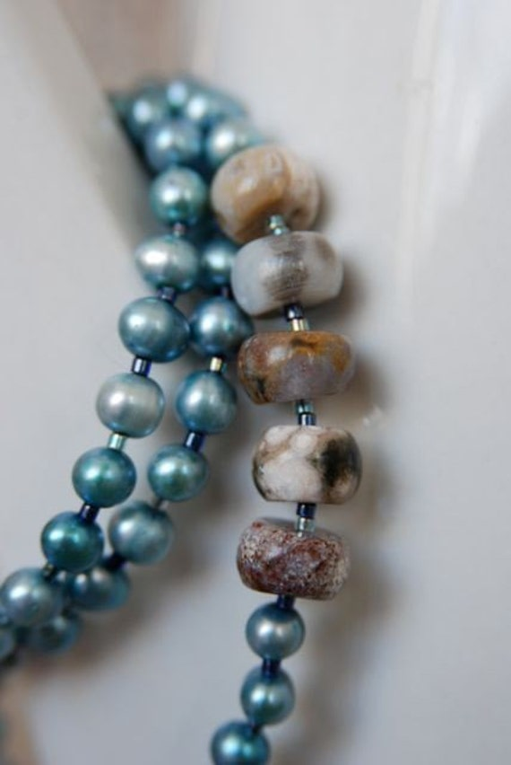 Blue Pearl Necklace Ocean Jasper Necklace Grey Blue Cornflower Sea
