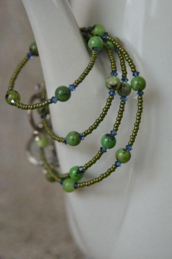 Chrysoprase Necklace and Bracelet Set