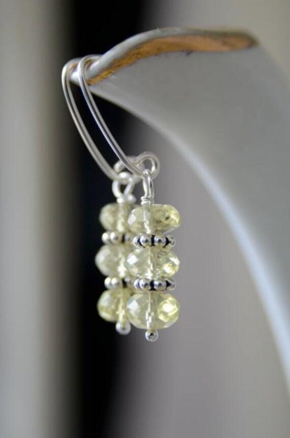 Yellow Lemon Quartz Earrings with Handmade Sterling Silver Earwires ... Natural Gemstone Earrings