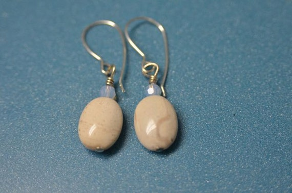 Cream Ocean Jasper with Lavender Crystals, Beige Natural Stones and Sterling Silver Earwires . Handmade in Maine