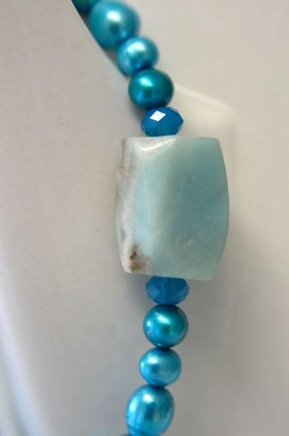 """Turquoise Bracelet Aqua Bracelet Gemstone Bracelet Teal Amazonite Freshwater Pearls """"Beauty"""""""