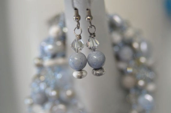 """Blue Aventurine Necklace Earrings White Grey Howlite Pearls Crystals """"Frosty"""""""