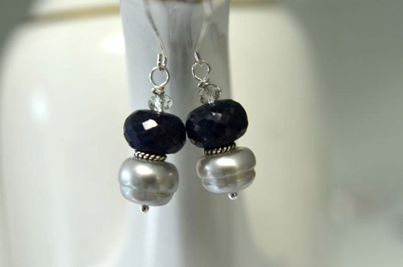 Blue Earrings  Sapphire Earrings Grey Pearl Earrings Precious Gemstone Earrings Sterling Silver Ready to Ship