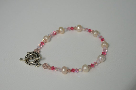 "Pink Pearl Bracelet with Crystals Handmade in Maine ""cupids arrow"""
