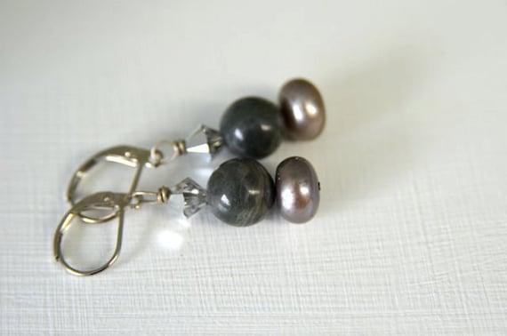 """Pearl Earrings Ocean Jasper Earrings Grey Earrings """"Clair de Lune Collection"""""""
