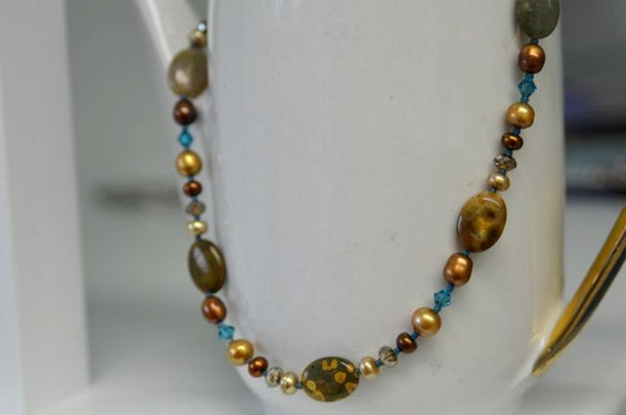Ocean Jasper Necklace and Brown Pearl Earrings with Deep Teal accents . Handmade in Maine by North Atlantic Art Studio