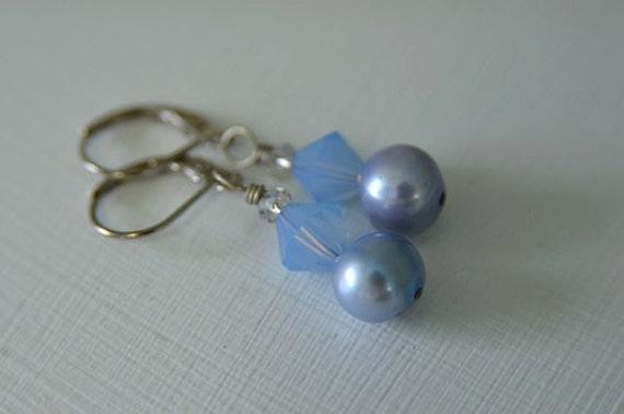 Periwinkle Pearl Earrings handmade from North Atlantic Art Studio in Maine