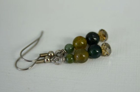 Fancy Jasper Earrings Green Earrings Forest Earrings