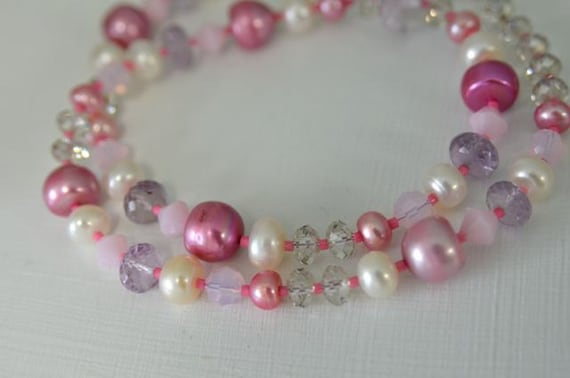 "Pink Amethyst Necklace with Pearls & Crystals Spring Jewelry  ""Bubble Gum"""