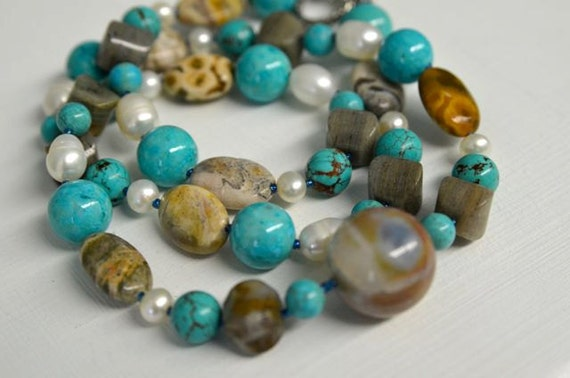 Natural Gemstone Necklace and Earring SET with Turquoise, Ocean Jasper, River Stone, Blue Pearls and Crystals . Handmade in Maine