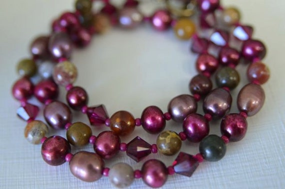 North Atlantic Arts Studio Red Ocean Jasper and Pearl Necklace
