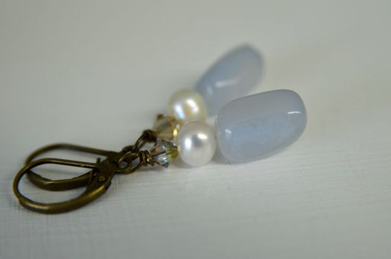 Periwinkle Gemstone Earrings with light blue lace agate, white pearls and Swarovski Crystals . Handmade in Maine