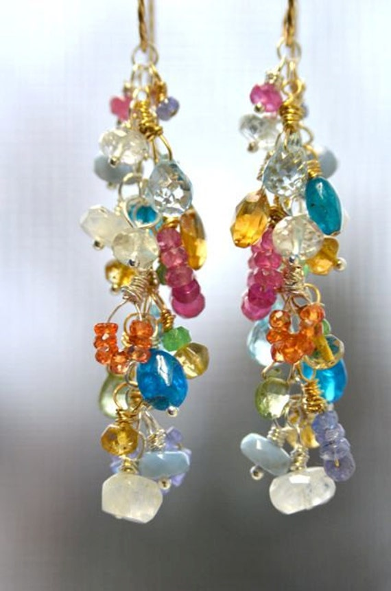 Natural Gemstone Earrings with Moonstones, Tanzanite, Blue Topaz, Apatite, Green Garnets and Pink and Orange Sapphires with Gold