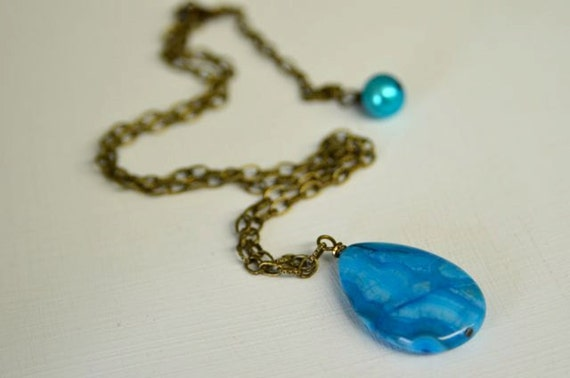 Turquoise Gemstone Necklace made with Natural Lace Agate in a tear drop Pendant with Antiqued Brass Chain Handmade in Maine