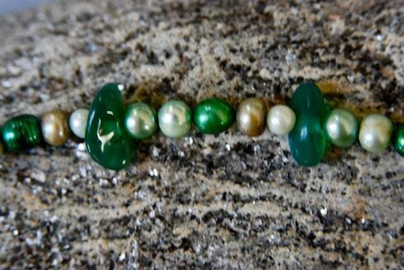 Green Bracelet Agate Bracelet Pearl Bracelet