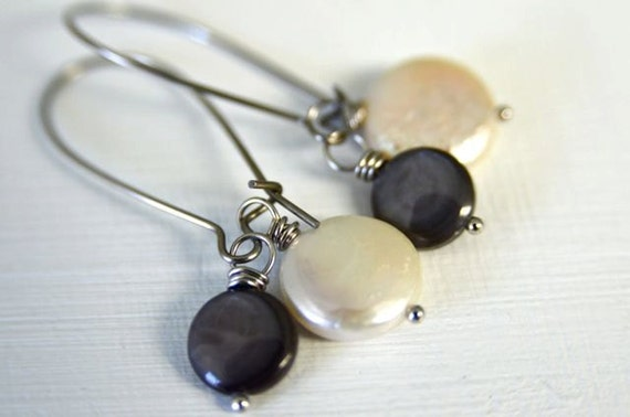 Pearl Dangle Earring Charm Set with Aqua, Periwinkle, White, Celery and Charcoal Pearls Handmade in Maine