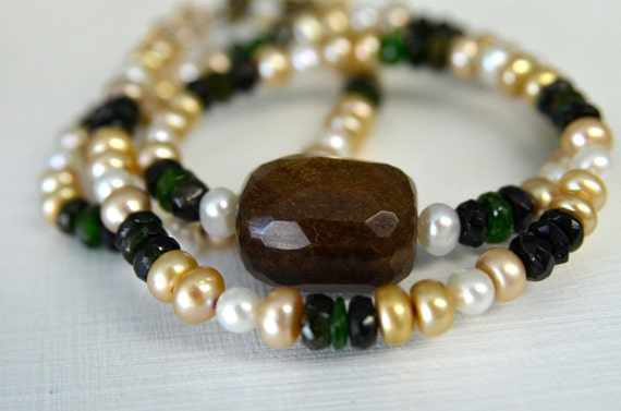 Green Tourmaline and Bronzite Necklace and Earring Set with Freshwater Pearls