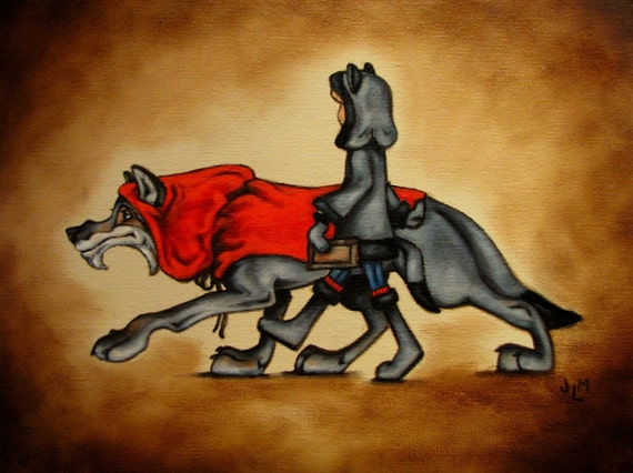 Little Red Riding Hood and the Wolf Taking a Walk to the Library- original oil painting on canvas board