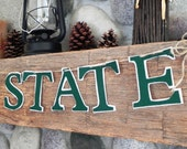 Handmade Felt Michigan State Banner---Can Also be Custom Designed with Your Team Colors and Saying
