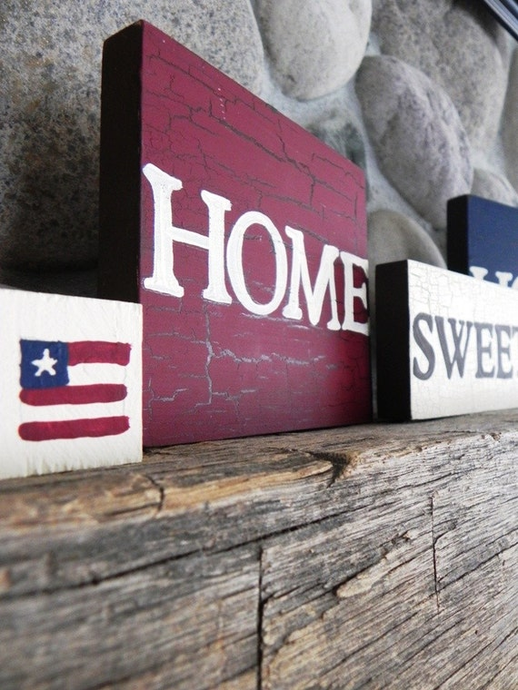 Home Sweet Home---A Handpainted Decor Set Perfect for the American Home or Returning Troop