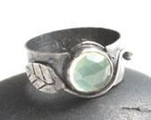 Green Prehnite Ring Rustic Vine Ring Sterling Silver Leaf Ring  - Weighted Leaf