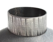 Hammered Mens Ring Rustic Wood Grain Sterling Silver Distressed Finish Industrial Man  Unisex  -    Tyger