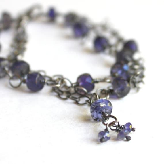 Iolite Bracelet Sterling Silver Multi Layered  Three  Strand Chain Bracelet  -  Gentian