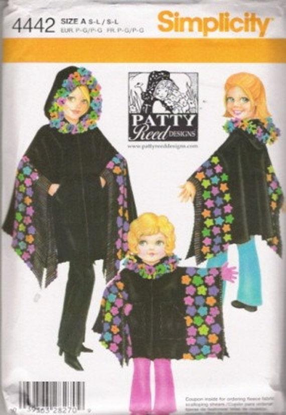 Simplicity Girls Patty Reed Fleece Poncho Pattern SZ S-L