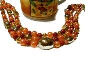 Autumn Event Red, Gold, Orange Vintage Beads Victorian Choker, Roaring Twenties Flapper Beaded Choker Necklace,