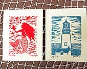 Mermaid and Lighthouse Note Cards, set of 5