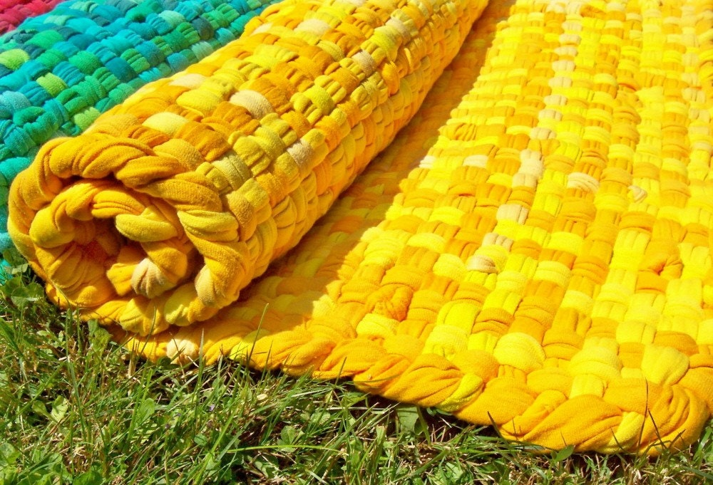 Yellow And Gold Rag Rug 2x3ft
