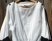 SALE Early 80's Gauzy Bat Wing Shirt