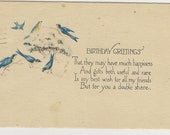 Antique Birthday Greetings postcard 1920s with poem and blue birds