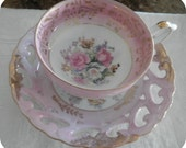 Vintage Pink and Gold Floral Porcelain Teacup With Saucer